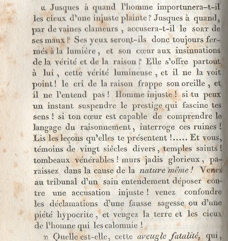 extrait de &quot;les ruines&quot; de C.F. VOLNEY ch 3 &quot;le fantome&quot;
