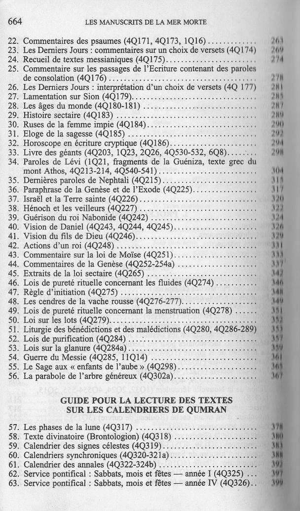 table des matieres des traductions françaises de textes des manuscrits de la mer morte de qumran wise abegg cook