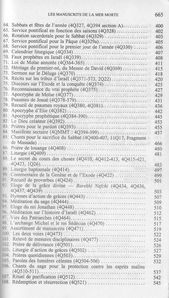 table des matieres N 3 des traductions françaises de textes des manuscrits de la mer morte de qumran wise abegg cook